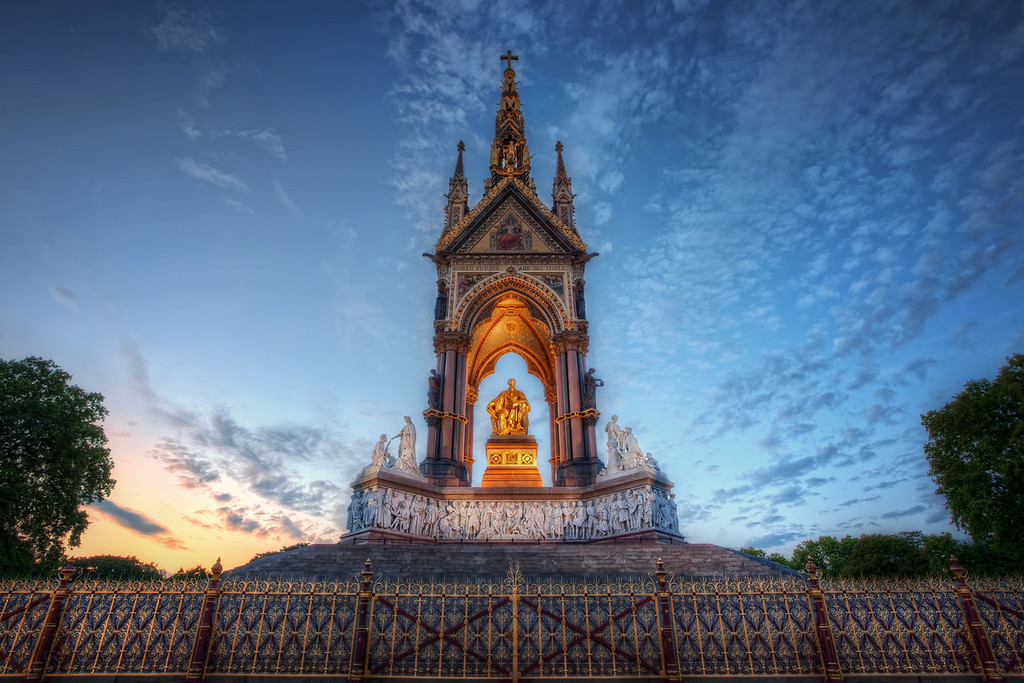 Photograph: The Golden Prince - Sunset at the Albert Memorial in London, England.