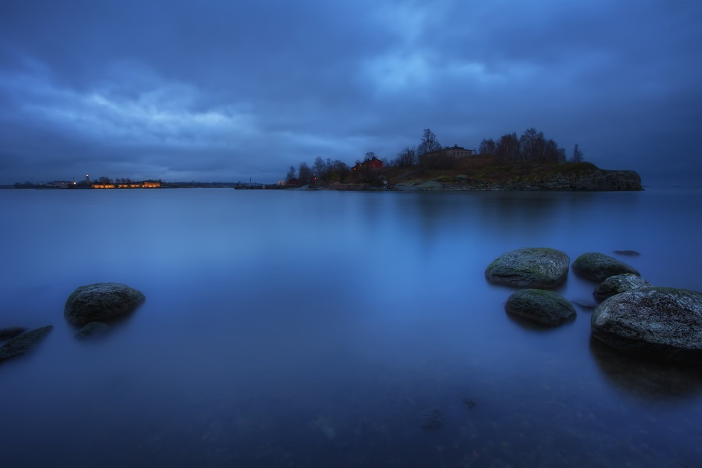 Photograph: Baltic Blue - Blue hour photo of Helsinki harbour in Finland, with Suomenlinna in the background.