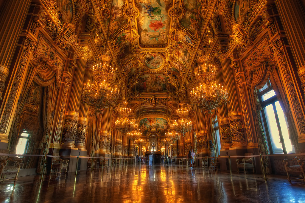 Photograph: The Grand Foyer - HDR interior of the Grand Foyer in the Opera Garnier in Paris, France.