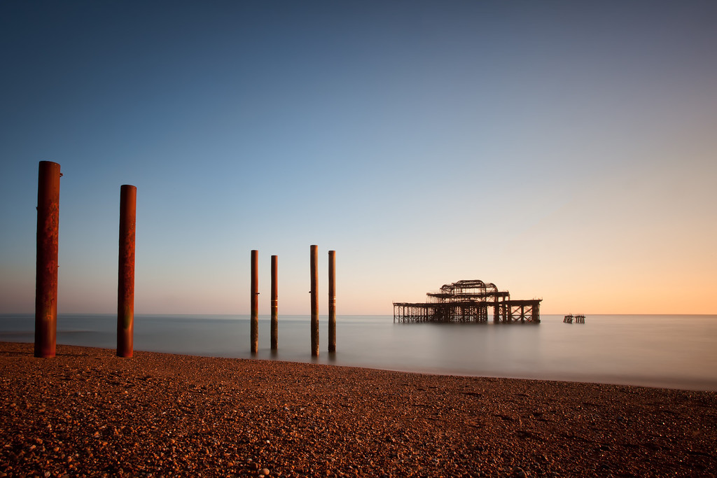 Photograph: West Pier - Sunset at the West Pier in Brighton on the southern England coast.