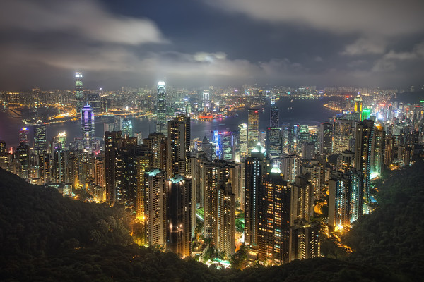Photograph: Hong Kong - Night shot of Hong Kong from Victoria Peak, looking across Hong Kong Island towards Victoria Harbour and Kowloon.