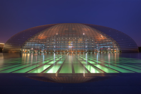 Photograph: The Invaders - Night-time photograph of the National Centre for the Performing Arts in Beijing, China. Often referred to as The Egg.