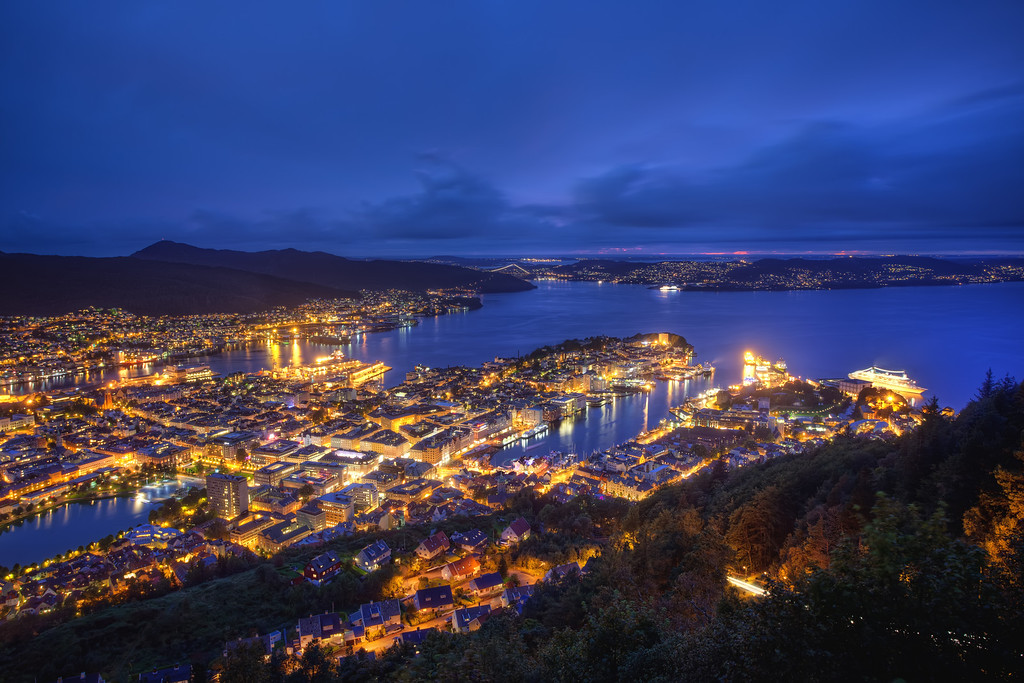 Photograph: Night-time Norway - Cityscape shot of Bergen, Norway at night-time.