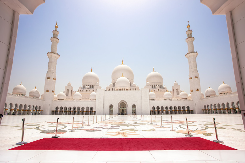 Photograph: Sheikh Zayed Grand Mosque - Courtyard of the Sheikh Zayed Grand Mosque in Abu Dhabi, United Arab Emirates. A wonderful example of Islamic architecture.