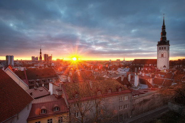 Photograph: Tallinn Old Town - Sunrise over Tallinn Old Town in Estonia.