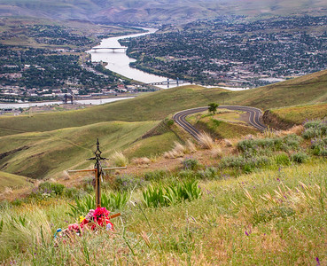 Memorials on the curvy Lewiston, ID, Old Spiral Highway