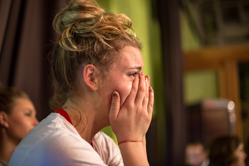 Julia McInnis realizes the likelihood of Trump's Victory at the democratic Election Night Watch Party at Whirled Pies Downtown Eugene, Oregon.