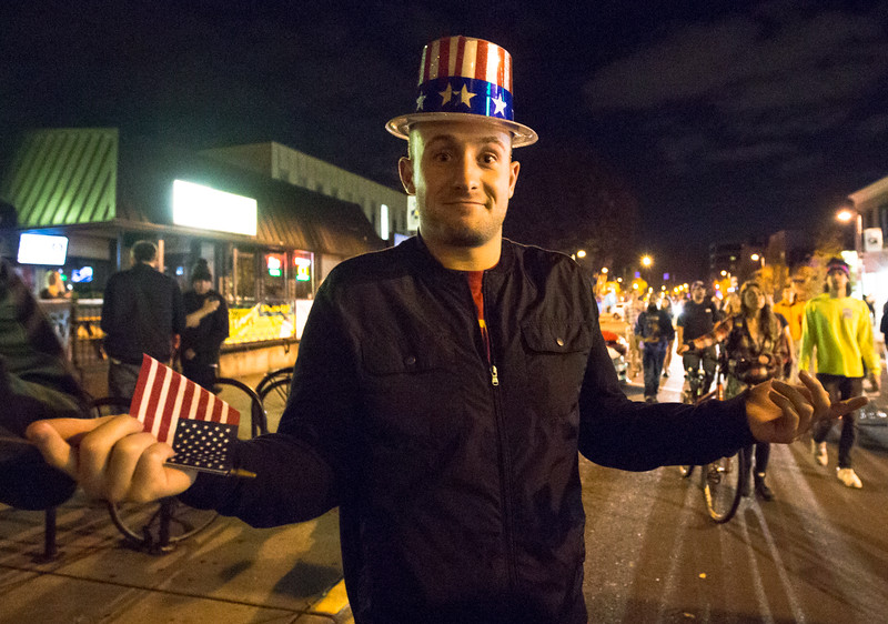 13th Avenue in front of Taylor's Bar and Grill, Eugene, Oregon was a gathering place for both Trump and Hillary supporters on election night.