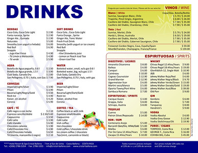Bar drinks menu 2012