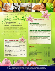 Cristal Spa menu, English version, 2014