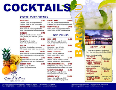 Bar cocktail menu 2012
