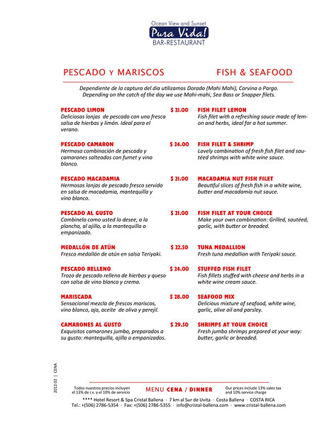 sample page of restaurant menu seafood