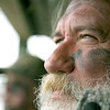 Dennis Noffke of Stweardson, Illinois looks up to the sky while Chad Smith calls in a group of ducks during a duck hunt on Lake Mattoon in Mattoon, Illinois on Saturday, November 15, 2008. The Mattoon City Coucil gathered in a special session to discuss the future of rules concerning waterfowl hunting on the lake.  (Jay Grabiec/Photographer)