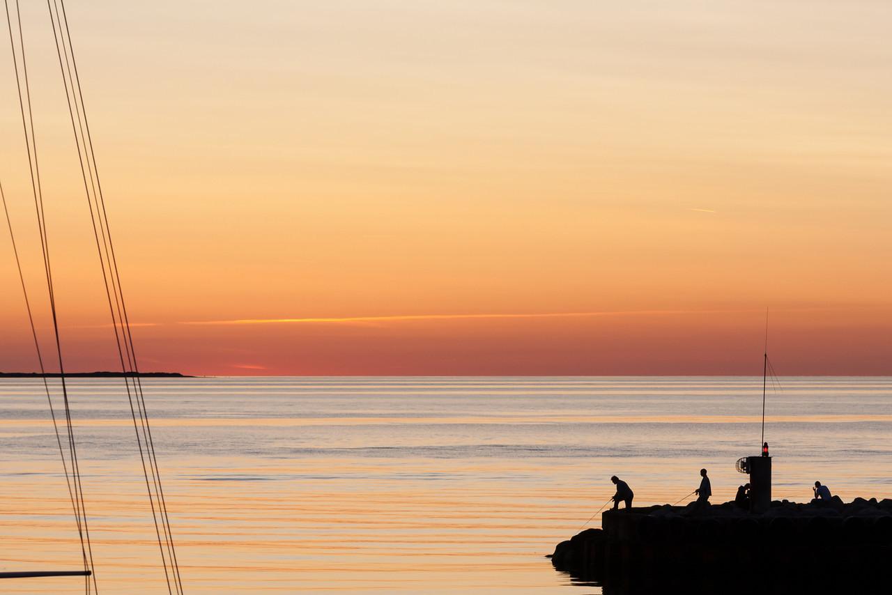sunset over hundested harbor