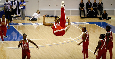 Jesse White Tumbling team member Sherron Bond does a trick during the EIU homecoming Pep Rally at Lantz Arena in Charleston, Illinois on Friday, October 17. 2008.  (Jay Grabiec/Staff Photographer)