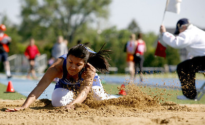 Sophomore Jessica Brita of Bismark High School lands a long jump during the IHSA State track meet at O'Brien stadium in Charleston, Illinois on Friday , May 16, 2008. (Jay Grabiec/Staff Photographer)