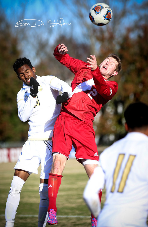 Billy McConnell (2) heads the ball during the IU vs. Akron soccer game at Bill Armstrong Stadium in Bloomington, Indiana on Nov. 20, 2016. IU beat Akron 1-0 in the 1st game of the NCAA Tournament.