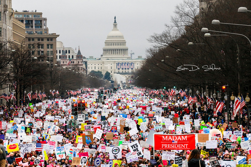 Protestors walk down Pennsylvania Avenue during the Women's March on Washington in Washington, D.C. on Jan. 21.