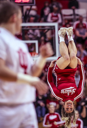 Indiana Cheerleaders tumble across the court during Indiana's game against Howard University on Sunday. The Hoosiers' beat Howard 86-77.
