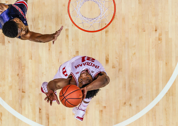 Senior Freddie McSwain Jr. attempts a layup during the Hoosiers' game against Howard University on Sunday. The Hoosiers' beat Howard 86-77.