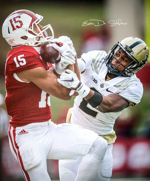 Wide Receiver Nick Westbrook (15) receives a catch from Quarter Back Richard Lagow during the IU vs. Purdue football game at Memorial Stadium in Bloomington, IN on Nov. 26, 2016. IU beat Purdue 26-24.