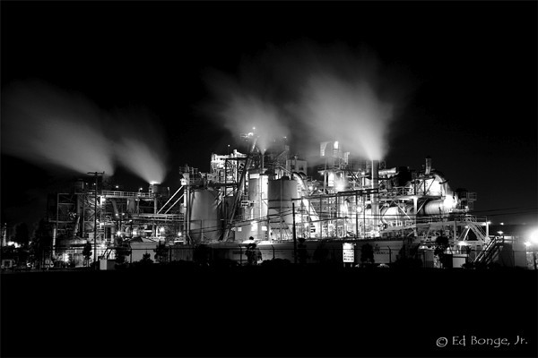 Industrial processing continues around the clock at this refinery in southern California.