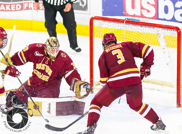 Pictured:  BC:  #30, Thatcher Demko, SO, G, 6-4, 195, San Diego, CA; #3, Ian McCoshen, SO, D, 6-3, 218, Faribault, MN