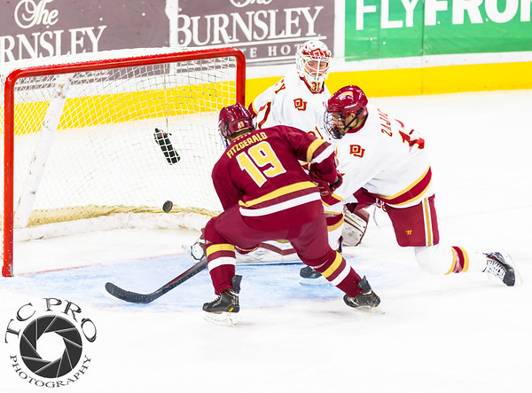 Pictured:  DU:  #31, Evan Cowley, G, 6-4, 185, SO, Evergreen, CO; #11, Nolan Zajac, D, 5-10, 180, JR, Winnipeg, MAN;  BC:  #19, Ryan Fitzgerald, SO, F, 5-10, 177, North Reading, MA