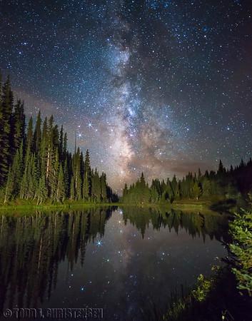 Milky Way over Lake Irene - Enhanced Bright Stars, Rocky Mountain National Park, CO