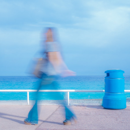 Blue Lady with Blue Bin