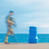 Soldier and Blue Bin