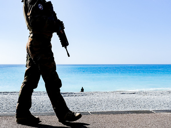 Soldier and the blue sea