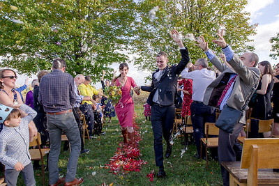 A couple runs down the aisle in Prince Edward County