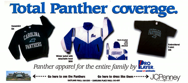JCPenney ad for Panthers apparel. Won Best Advertising Campaign by NCPA, 1996.