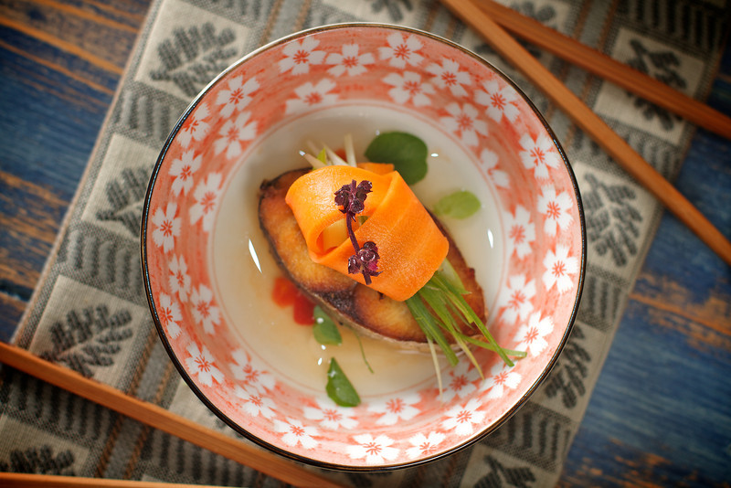 Seared King Fish with Carrot Pickle Water