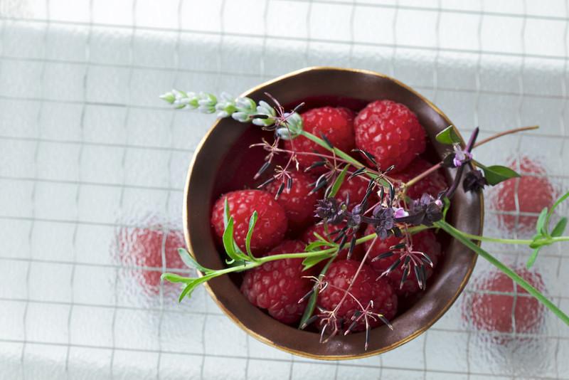 Raspberries on Glass