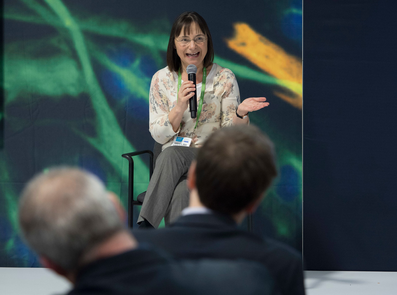 Speakers and attendees during AMC: Meet the Research Icon: Karen H. Vousden, PhD