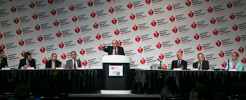 Los Angeles, CA - AHA 2012 Annual Scientific Sessions:  discusses  during the Press Conference on Late Breaking Abstracts during  the American Heart Association's Annual Scientific Sessions here today, Sunday November 4, 2012. Over 28,000  physicians, researchers and healthcare professionals from 80 countries are attending the meeting which is being held at the Los Angeles Convention center featuring the latest cardiovasular research in the areas of basic, clinical and population science. Date: Sunday November 4, 2012 Photo by © Todd Buchanan/Life Science 2012 Technical Questions: todd@medmeetingimages.com; Phone: 612-226-5154.