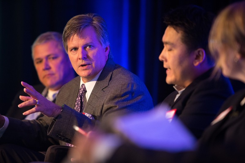 Austin, TX - AHA 2014 Health Tech Forum - Andreas Hoffman of Samsung Electronics, Dr. Scott Conard, a consultant with the American Heart Association, Adam Lin of iSeed Ventures, and Janet Campbell of Epic talk during the Morning Panel, Can the Quantified Self Help Prevent Illness, here today, Tuesday September 30, 2014 during the American Heart Associations Health Tech Forum being held here at the Driskoll Hotel. Photo by © AHA/Scott Morgan 2014 Technical Questions: todd@medmeetingimages.com