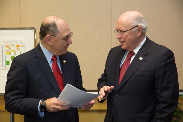 Chicago, IL - AHA 2014 Scientific Sessions - AHA President Elliott Antman meets with former Vice President Dick Cheney here today, Sunday November 16, 2014 during the American Heart Associations Scientific Sessions being held here at the McCormick Convention Center. Scientific Sessions is the leading cardiovascular meeting for basic, translational, clinical and population science, in the United States, with more than 18,000 cardiovascular experts from over 105 countries attending the meeting. Photo by © AHA/Scott Morgan 2014 Technical Questions: todd@medmeetingimages.com