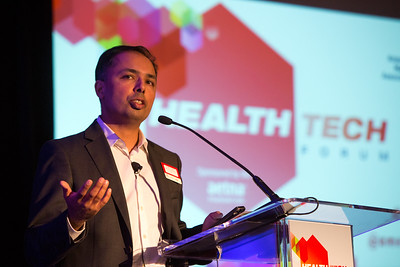 Austin, TX - AHA 2014 Health Tech Forum - Mintu Turakhia of Stanford University / VA Palo Alto speaks during the Discussion Dinner here today, Monday September 29, 2014 during the American Heart Associations Health Tech Forum being held here at the Driskoll Hotel. Photo by © AHA/Scott Morgan 2014 Technical Questions: todd@medmeetingimages.com
