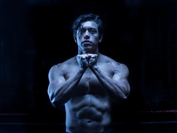 John Noel flexes following his workout at La Habra Boxing Club, May  5, 2017