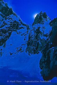 Twilight climbing near Lobuche, Khumbu region, Nepal