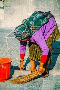 Temple cleaning, Swayambhunath, Kathmandu, Nepal