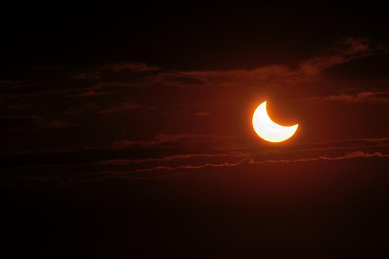 Partial Solar Eclipse 10-23-14 with sun spots