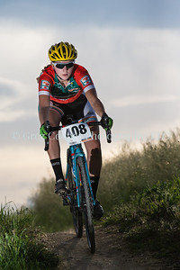 Johanne Albrigtson (408) at the 2015 CU Short Track Series A Women's race negotiating the downhill on a challenging course at Valmont Bike Park, Boulder, CO.