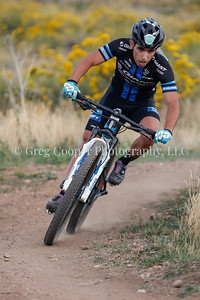 Sina Solouksaran negotiates an off camber turn in the Men's A race - Back to Basics Cyclocross Series 2106, in Golden, CO.