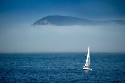 Cypress Island above an not-uncommon morning fog bank