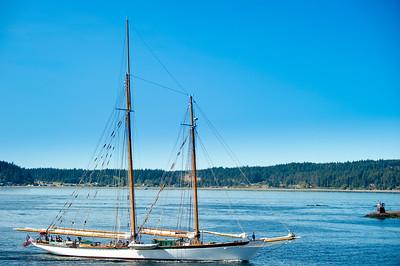 "Sailing Vessel ""Zodiac"" passing  Swifts Bay, Lopez Island"