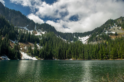 Annette Lake is a lower than many, so while there is snow here and on the trail, the higher lakes are still covered. May